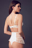 Designer bodysuit with tie back and sheer lace, part of Xena luxury erotic lingerie collection by Tatu Couture