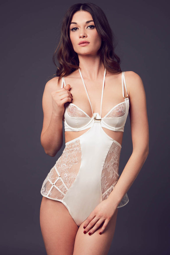 Luxury sheer lace bodysuit designed by Tatu Couture Luxury Lingerie