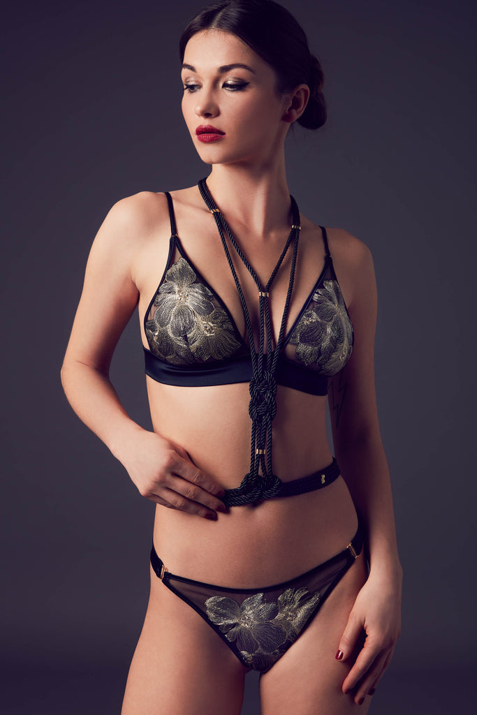 Luxury bondage lingerie with Aiko rope harness and Ayako metallic gold bralette and thong