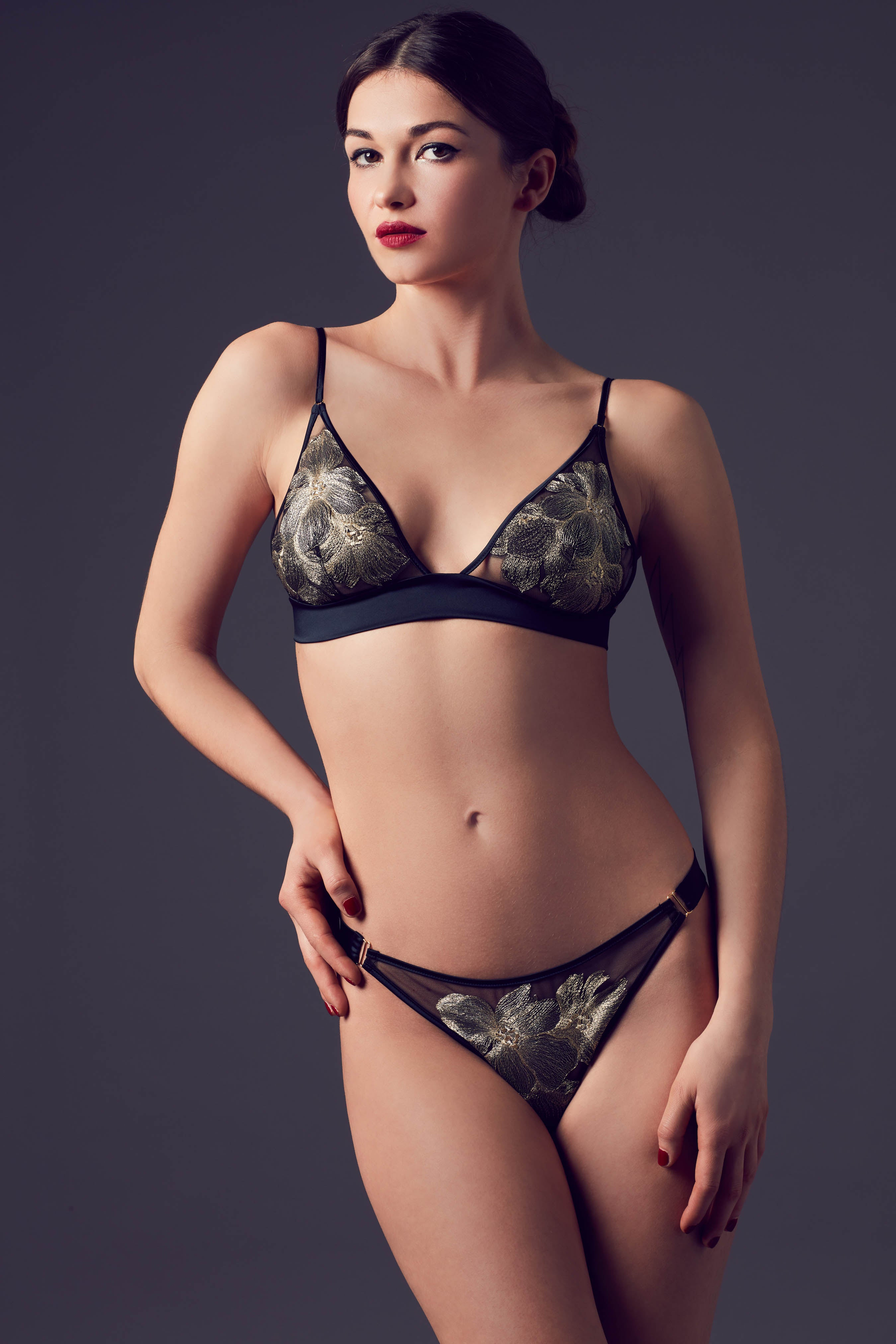 Ayako luxury lingerie set, with black and metallic gold bralette and thong