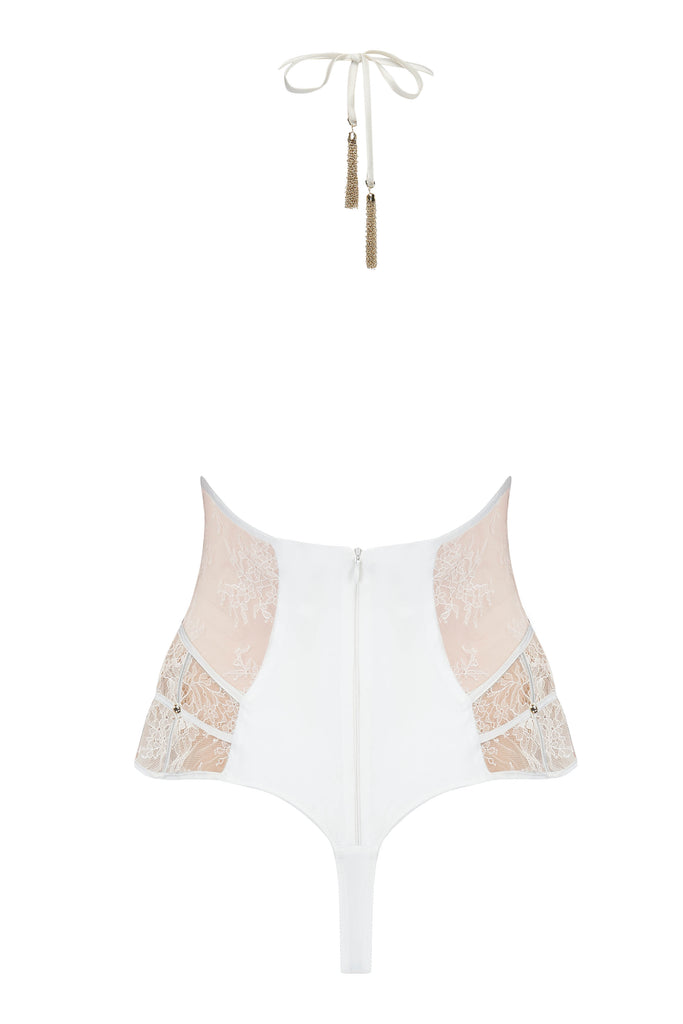 Luxury thong designer bodysuit with gold chain tie and sheer lace by Tatu Couture