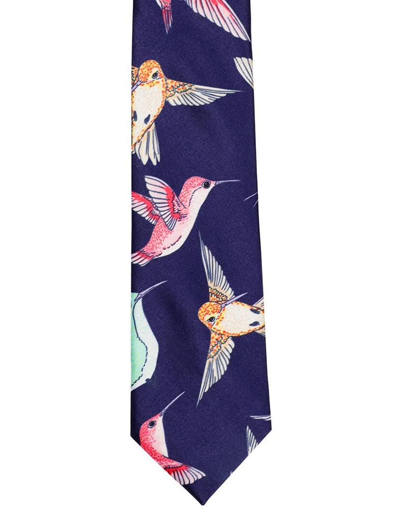 Blue Bird Print Necktie