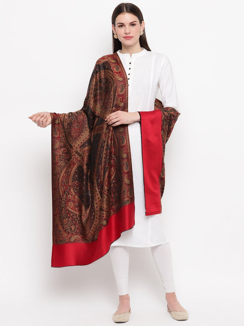 Brown & Red full weave Modal Stole