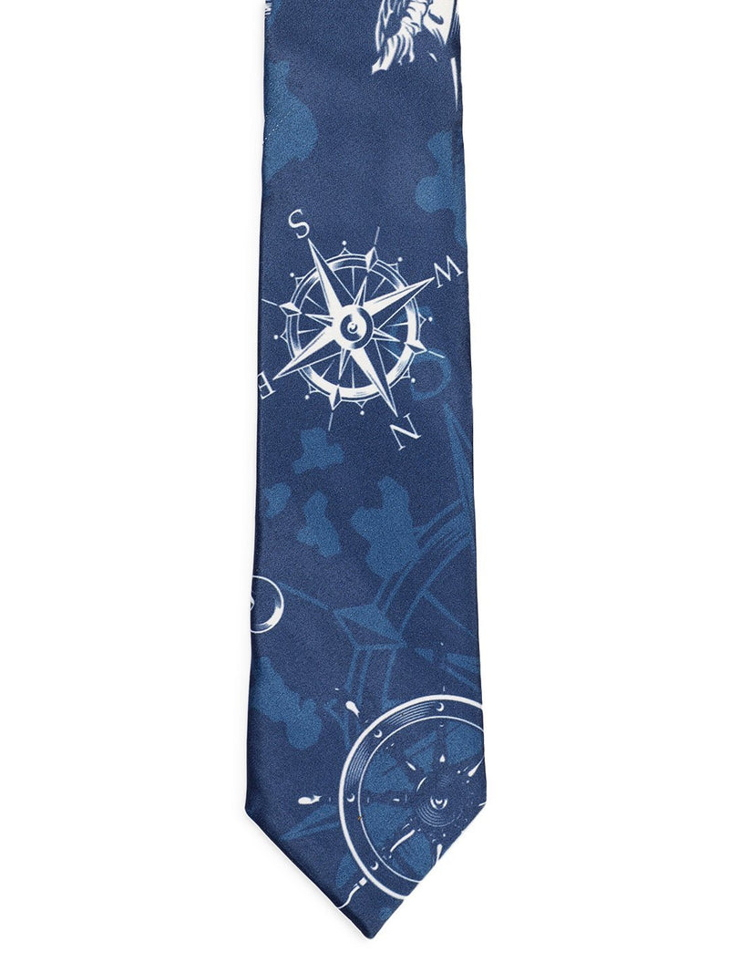 Blue Anchor Print Necktie