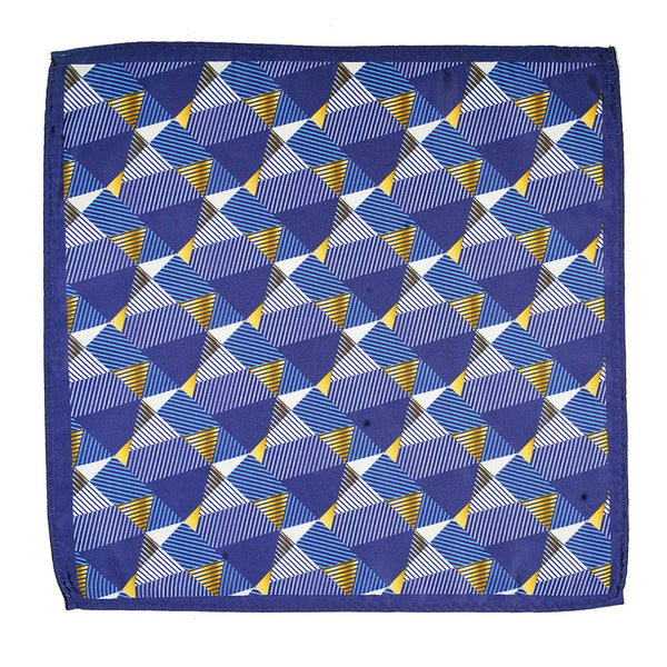 Blue Printed Pocket Square