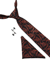 Black & Orange Paisley Necktie Giftset