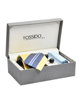 yellow & Blue striped Necktie Giftset