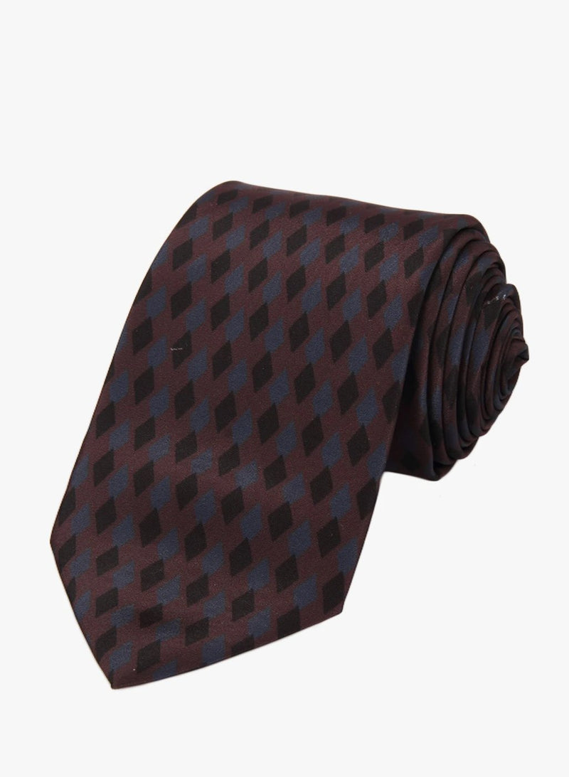 Brown Checkered Necktie