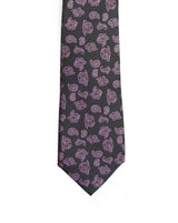 Grey Base with Purple Paisley Broad Necktie