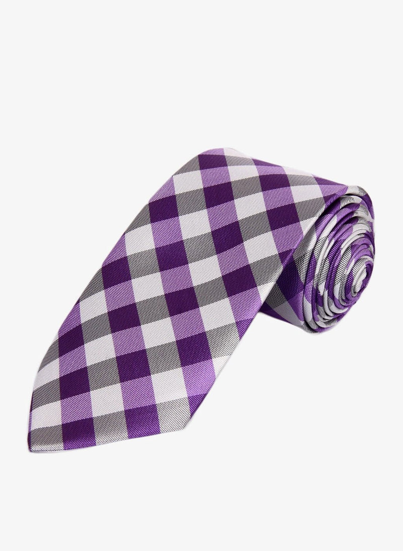 Purple Checkered Necktie