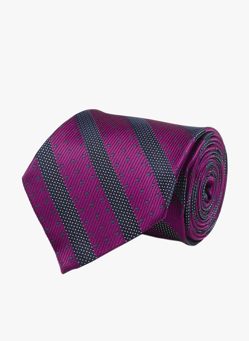 Magenta & Grey Striped Necktie