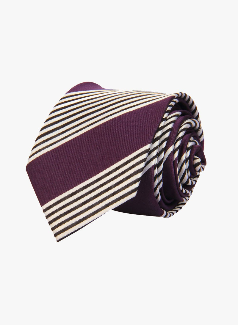 Purple & White Stripes Skinny Necktie