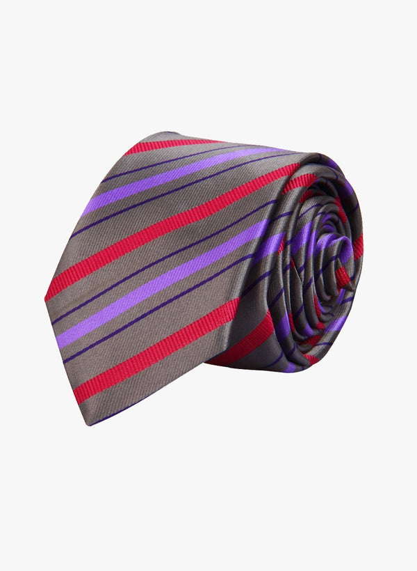 Grey & Purple Stripes Skinny Necktie
