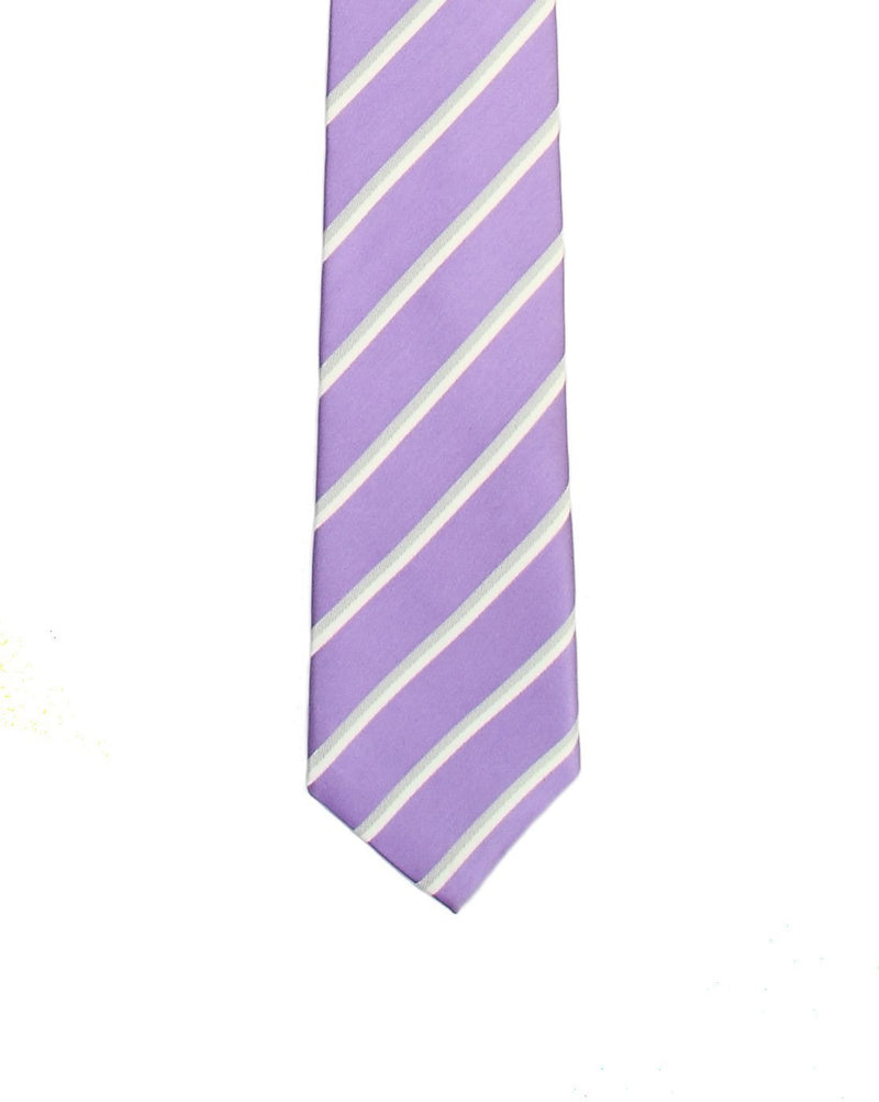 Purple Striped Skinny Necktie