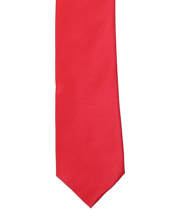 Red Solid Skinny Necktie