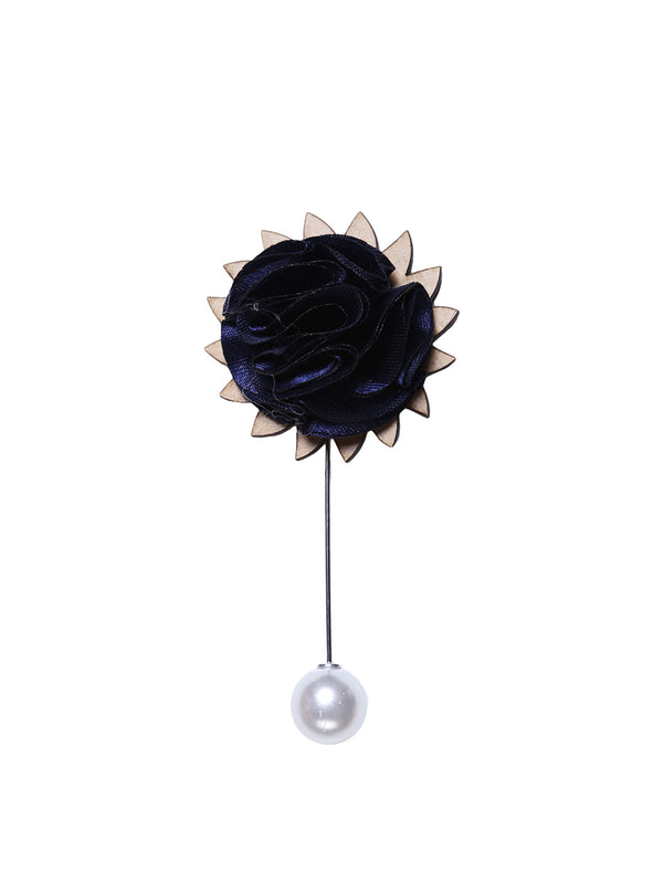 Navy Blue Floral Lapel Pin