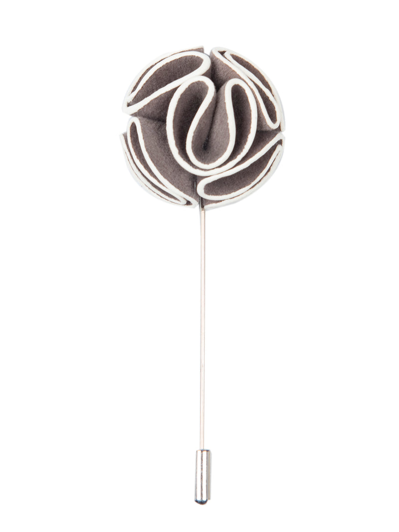 Grey Floral Lapel Pin