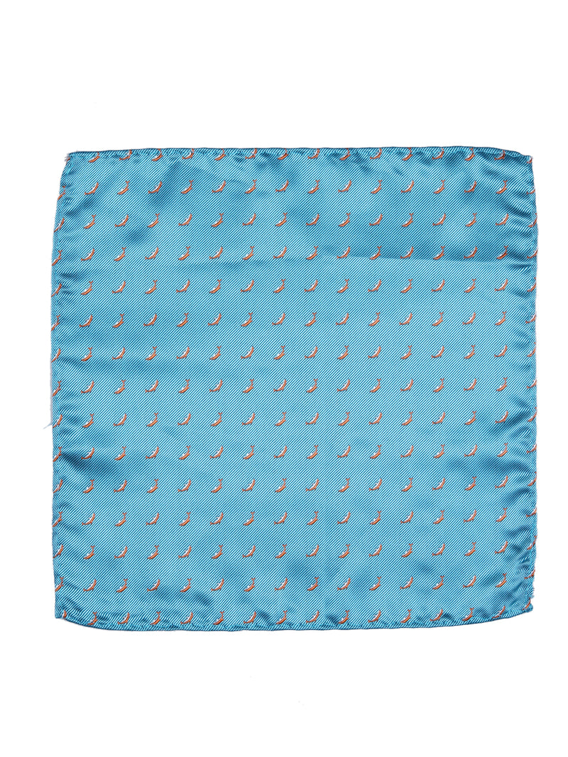 Turquoise Dolphin Woven Pocket Square