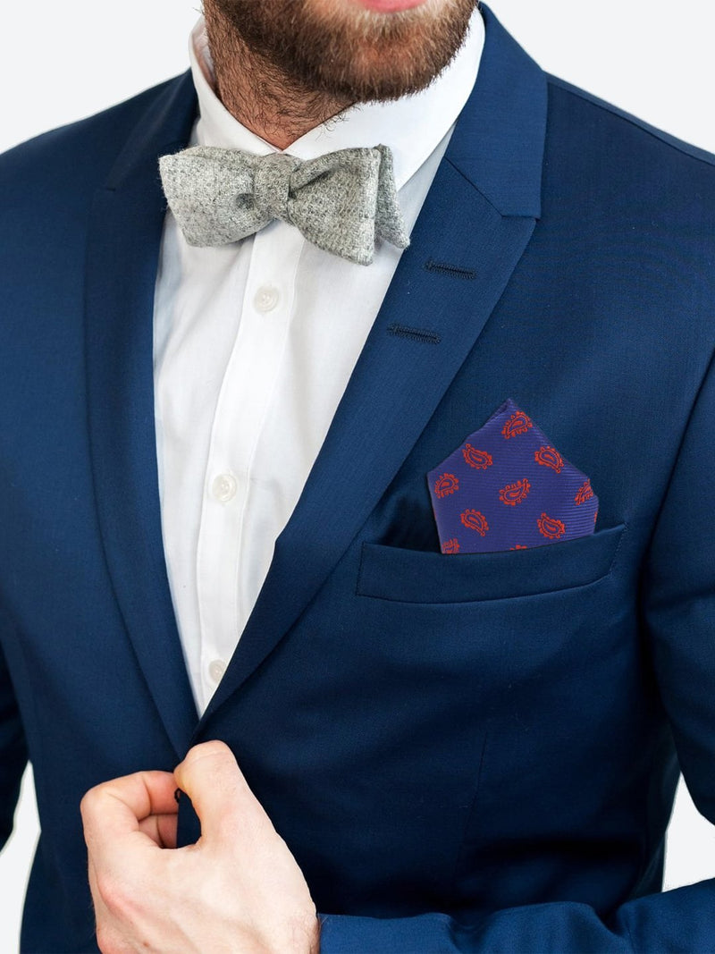 Blue Paisley Woven Pocket Square