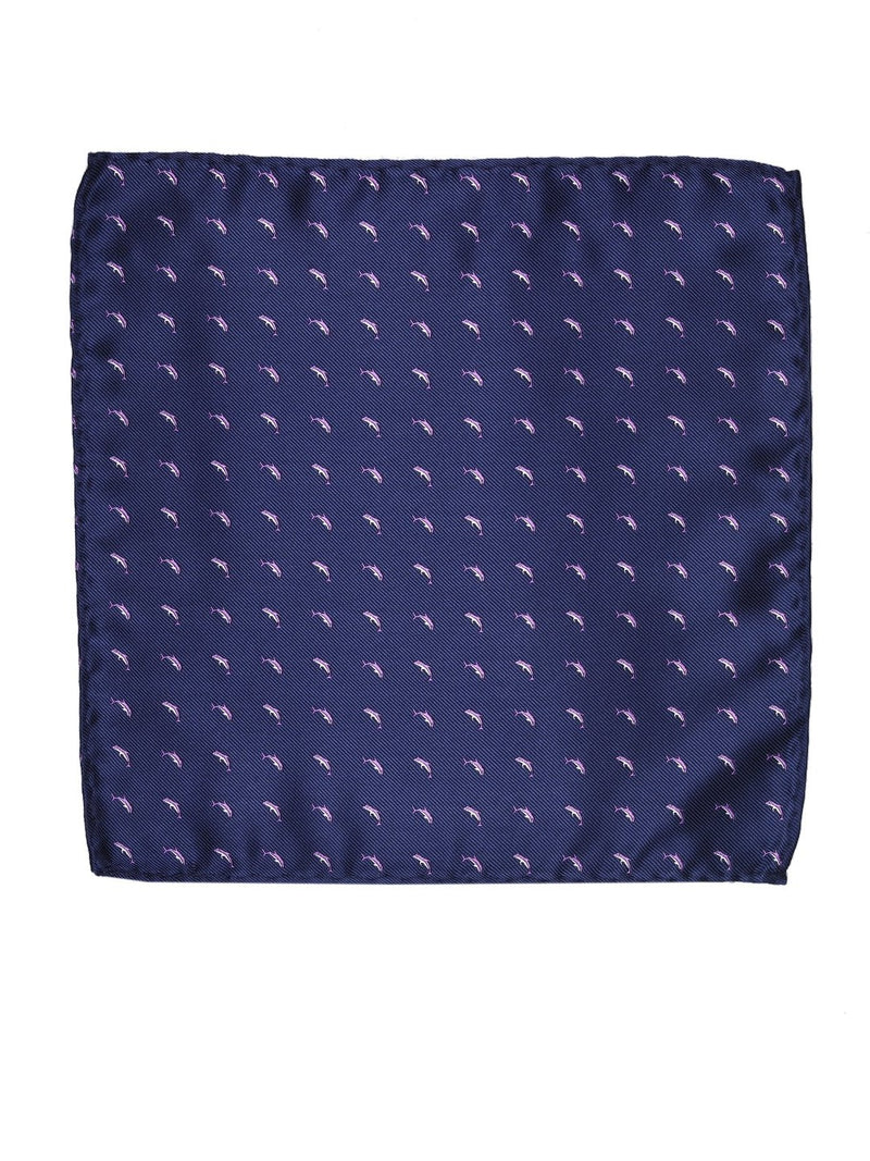 Blue Dolphin Woven Pocket Square