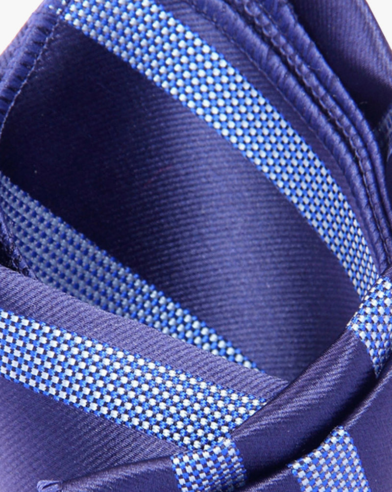 Navy Blue Stripes Woven Pocket Square