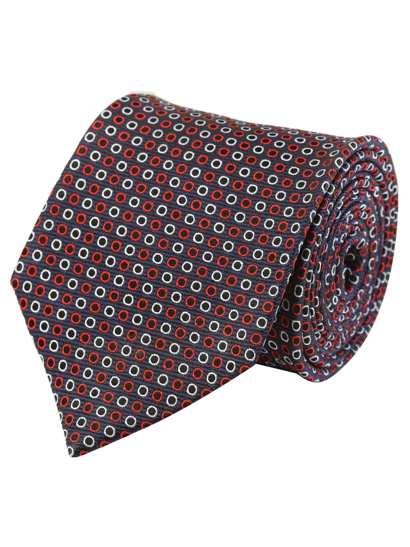 Multicolored Geometric Silk Woven Necktie