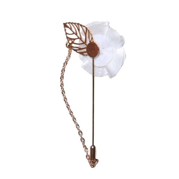 White Floral Solid Lapel Pin