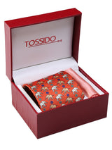 Orange Printed Necktie & Pocket Square Giftset