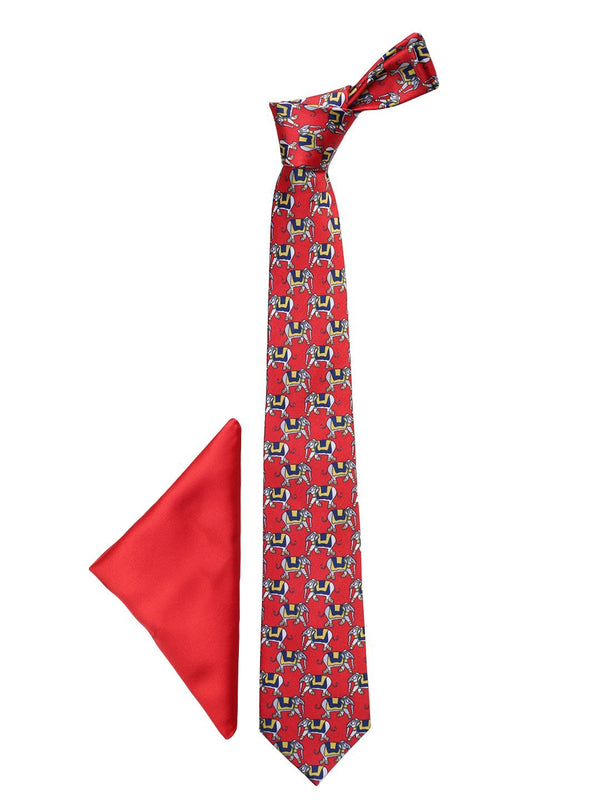 Red Printed Necktie & Pocket Square Giftset