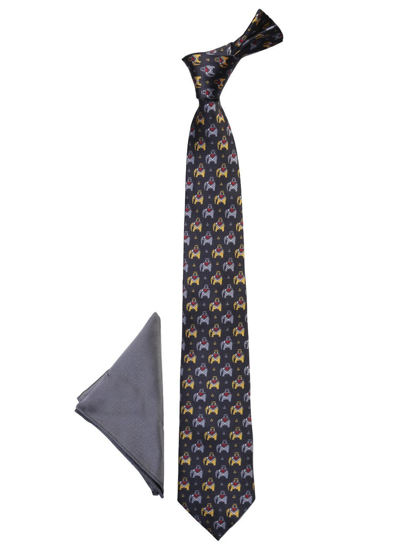 Black Printed Necktie & Pocket Square Giftset