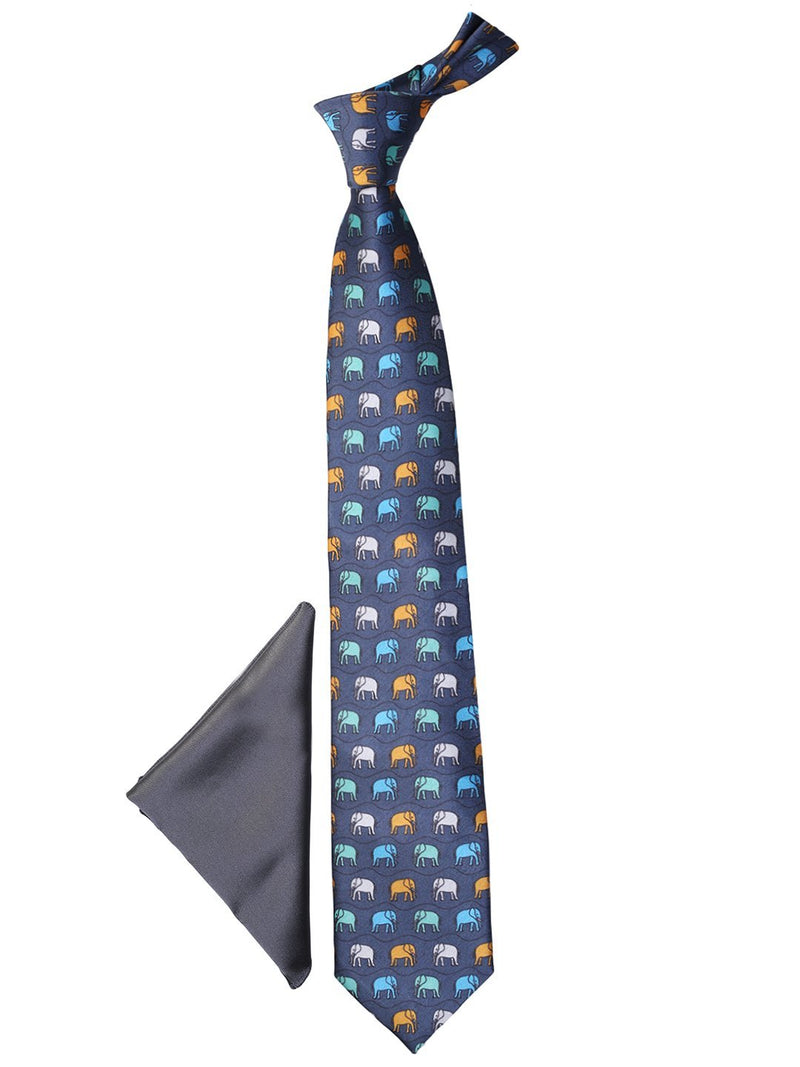 Grey Printed Necktie & Pocket Square Giftset