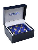 Blue Printed Necktie & Pocket Square Giftset
