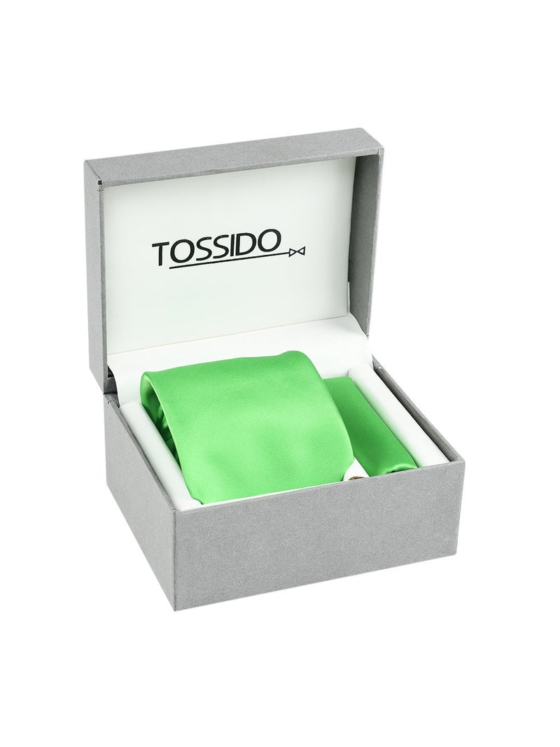 Green Solid Necktie & Pocket Square Giftset