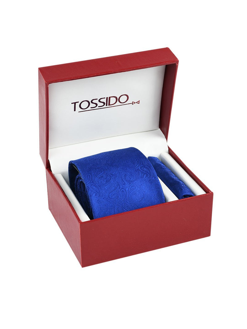 Blue Paisley Necktie & Pocket Square Giftset