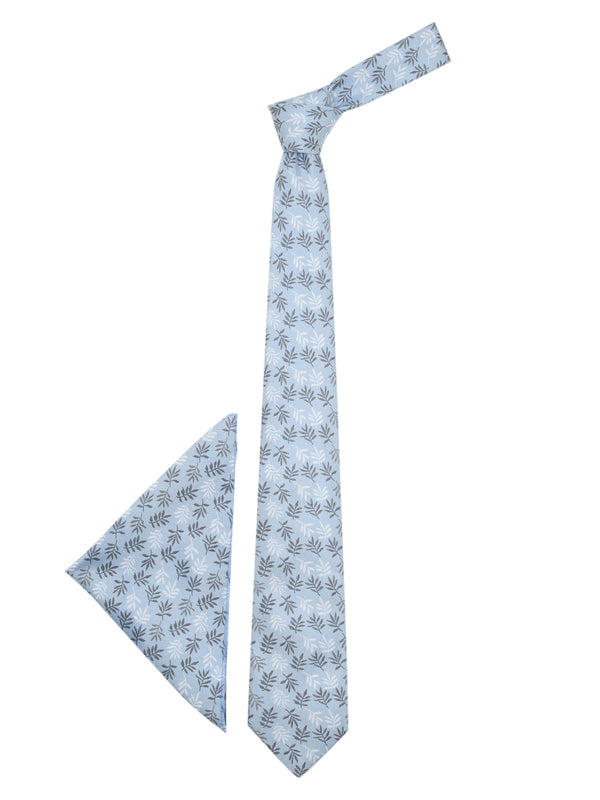 Light Blue Floral Necktie & Pocket Square