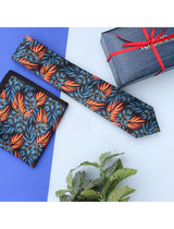 Black & Blue Printed Necktie & Pocket Square Set - TOSSIDO