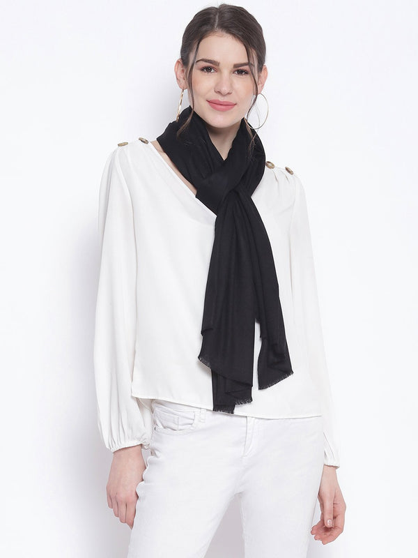 Black Indo western Pure Cashmere Wool Stole - TOSSIDO