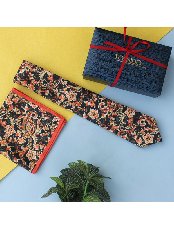 Black & Orange Printed Necktie & Pocket Square Set - TOSSIDO