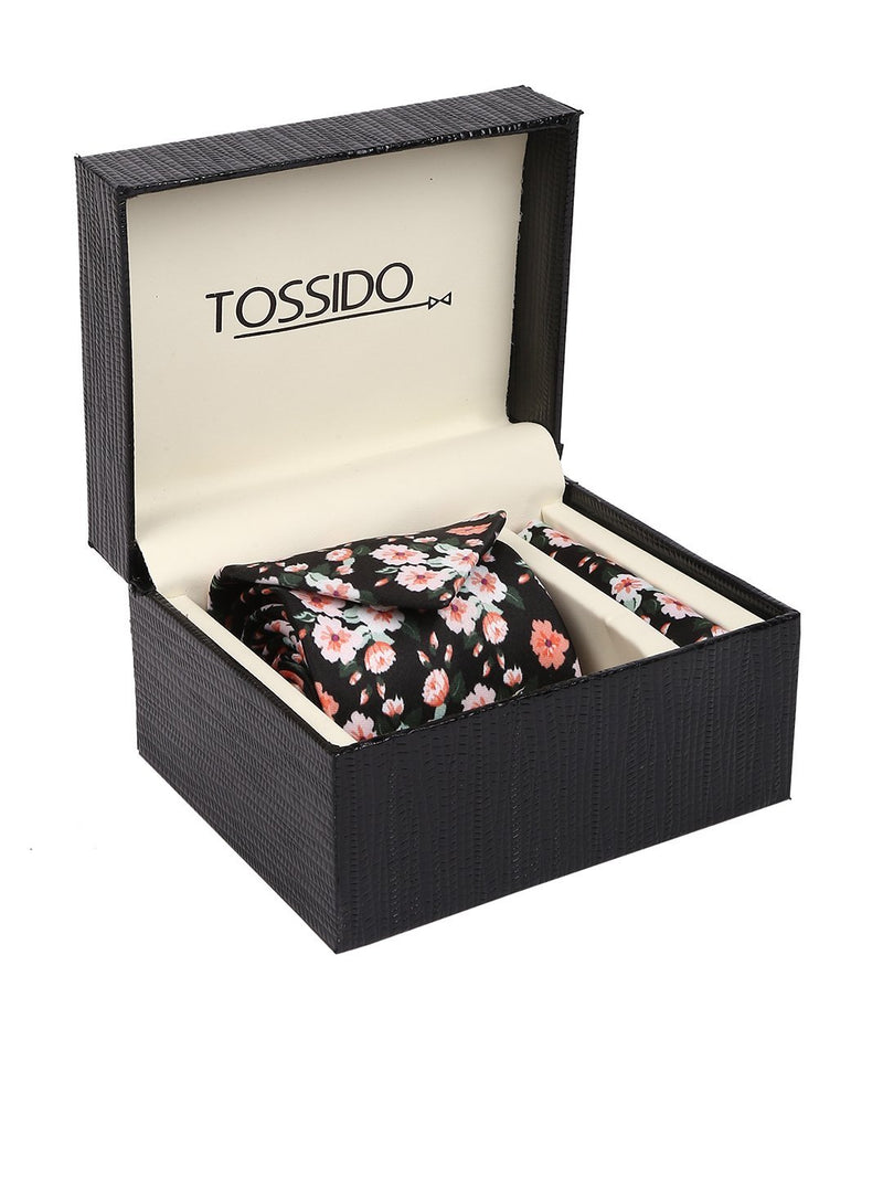 Black Printed Necktie & Pocket Square Set - TOSSIDO
