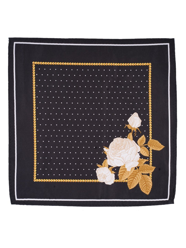 Black Printed Pocket Square - TOSSIDO