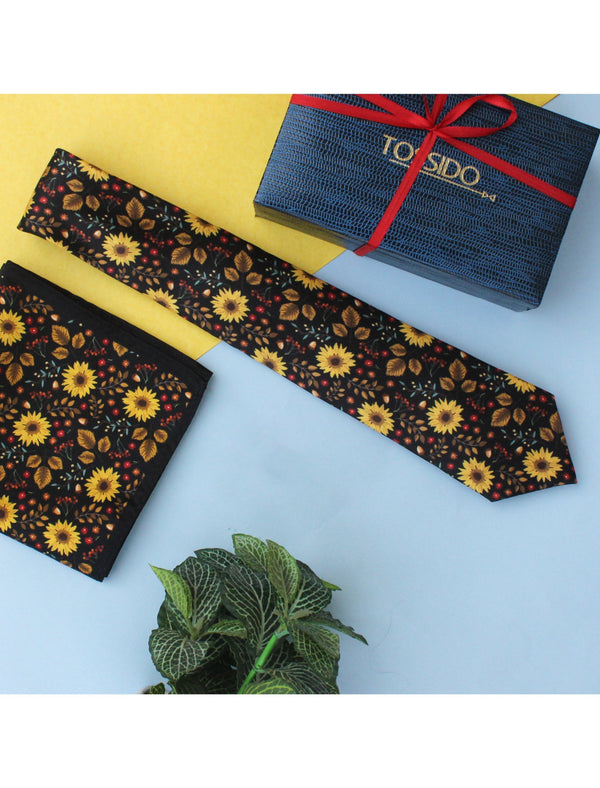 Black & Yellow Printed Necktie & Pocket Square Set - TOSSIDO