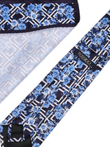 Blue Floral Necktie & pocket square giftset - TOSSIDO