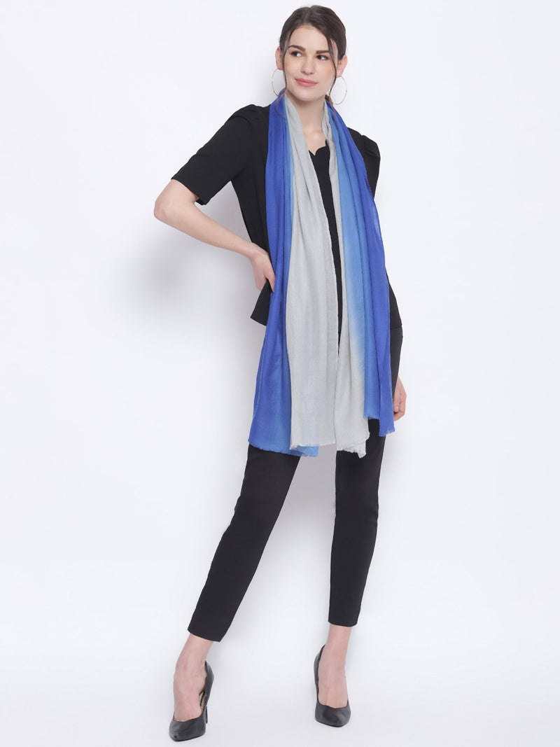 Blue & Grey Ombre Indo Western Pure Cashmere Wool Stole - TOSSIDO