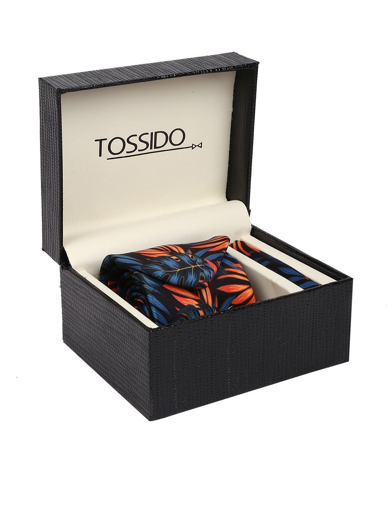 Blue & Orange Printed Necktie & Pocket Square Set - TOSSIDO
