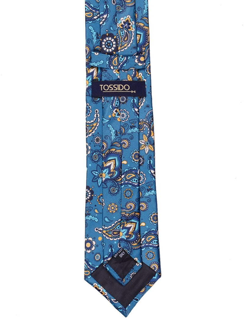 Blue Paisley Printed Necktie - TOSSIDO