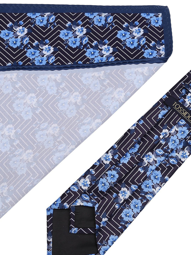 Blue Printed Necktie & Pocket Square Set - TOSSIDO
