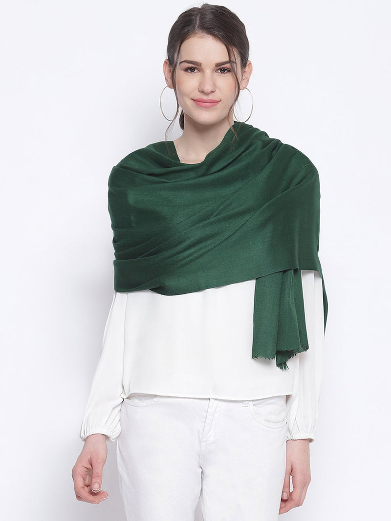 Bottle Green Indo western Pure Cashmere Wool Stole - TOSSIDO