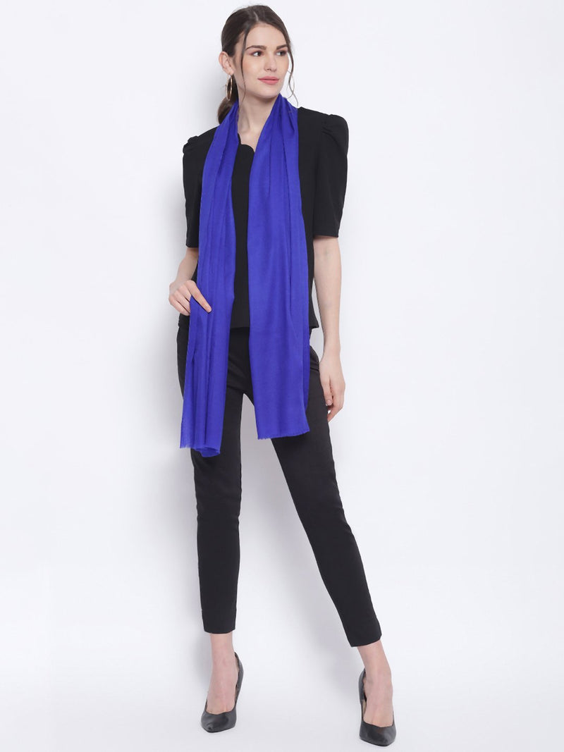 Indigo Blue Indo western Pure Cashmere Wool Stole - TOSSIDO