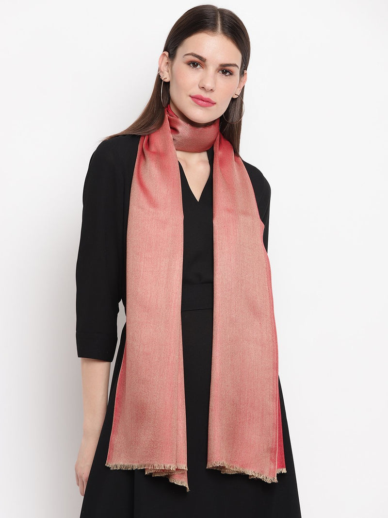 Light Red two tone reversible Modal Stole - TOSSIDO