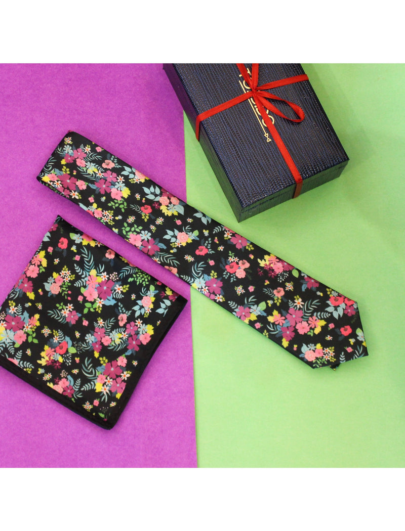 Multicolored Printed Necktie & Pocket Square Set - TOSSIDO